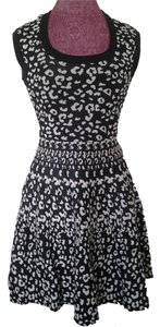 Rebecca Taylor short dress Black and Desert Cream Night Out Stretchy Knit Fit Flare Leopard Print on Tradesy