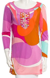 Emilio Pucci Brown Purple White Top Purple, White, Orange, Multicolor