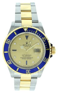 Rolex Rolex Submariner 16613 Blue Bezel Slate Serti Diamond Dial - Steel & Gold Watch