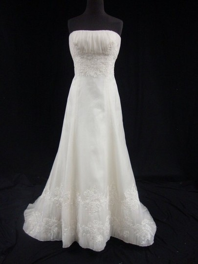 CHRISTOS Ruched Bodice And Lace Detail Wedding Dress
