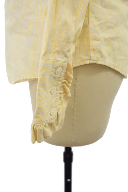 J.Crew Button Down Career Pinstriped Top Yellow