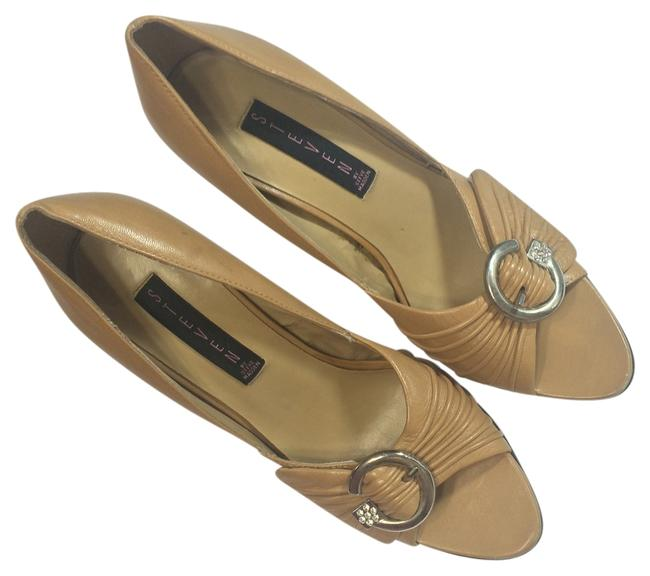 Item - Camel Embellished Horseshoe Buckle Peep-toe Heels Pumps Size US 8.5 Regular (M, B)
