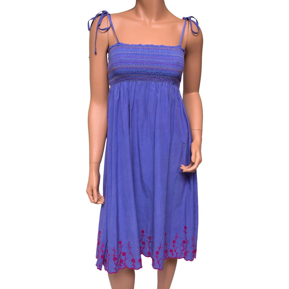 4325dd1c620 Da-Nang Purple Embroidered Washable Silk Floral Knee Length Casual ...