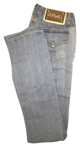 Versace Monogram Straight Leg Jeans-Light Wash