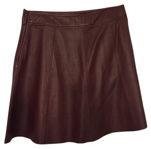 PJK Patterson J. Kincaid Leather A-line Mini Mini Skirt Maroon
