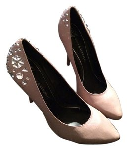 Rock & Republic Studded Rhinestone Leather Taupe Pumps