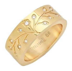 Steeltime 18kt Gold Plated Stainless Steel Tree Of Life Ring ~ Size 7 ~ NWT