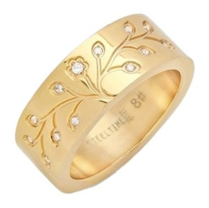 Steeltime 18kt Gold Plated Stainless Steel Tree Of Life Ring ~ Size 8 ~ NWT