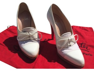 Christian Louboutin White Patent Leather & White Linen Pumps