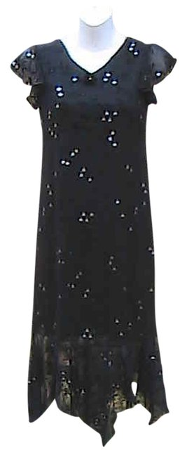 Item - Black Floral Glitter High-low Casual Maxi Dress Size 6 (S)