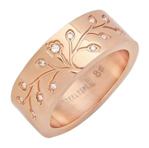 Steeltime 18kt Rose-Gold Plated Stainless Steel Tree Of Life Ring ~ Size 8 ~ NWT