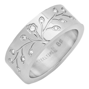 Steeltime 18kt Silver Stainless Steel Tree Of Life Ring ~ Size 6 ~ NWT