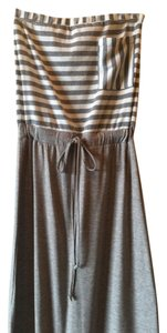 Striped heather grey and white Maxi Dress by Hive & Honey