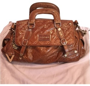 Versace Patent Leather Brown Satchel in Light Brown