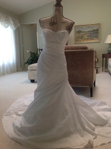 David's Bridal Strapless Taffeta Trumpet Wedding Dress