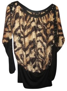 AZI Jeans Top brown print with black