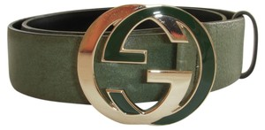 Gucci Gucci 0959 Green Leather and GG Buckle Belt sz 34
