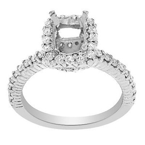 14k White Gold 0.5 Cttw Diamond Accent Stones Pave Engagement Ring Casting