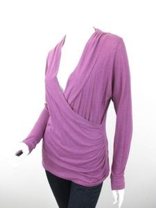 Lilla P Ruched Faux Wrap Style Cotton Shirt Top Purple