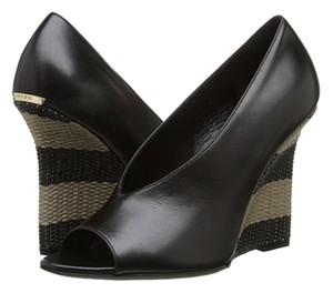 Burberry Fashion Beach Italy Leather Peep Toe Black Wedges