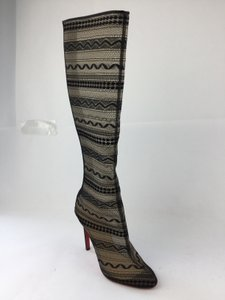 Christian Louboutin Paola 100 Crepe Satin Knee High Black Boots