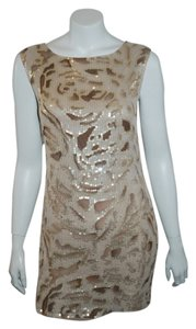 Alice + Olivia Sequin Gold Silk Dress