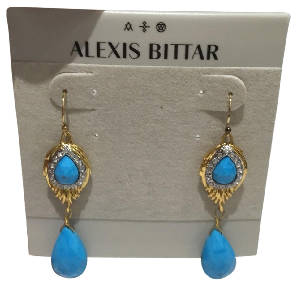Alexis Bittar Turquoise Gold Elements Feather Drop Earrings