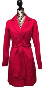 Talbots Red Trench Coat Raincoat Petite Medium Trench Coat