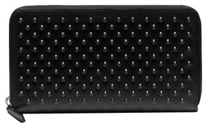 Gucci New Gucci Studded Wallet, Black Leather Zip Around Wallet 336465