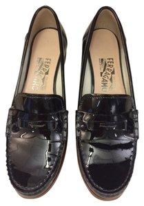 Salvatore Ferragamo Loafer Leather Black Patent Flats