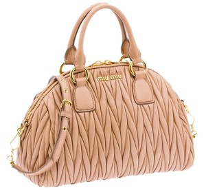 Miu Miu Matelasse Vintage Bowler Prada Nappa Leather Cross Body Strap Gold Hardware Luxury Lamb Tote in Mughetto pink taupe /light creamy brown