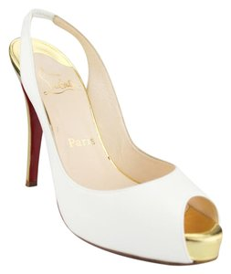Christian Louboutin White With Gold Heel Pumps