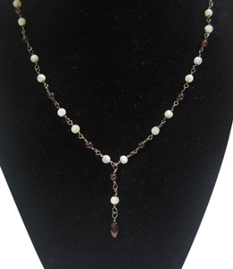 Sterling Silver Amethyst and Quartz Bead Necklace, 16 inch