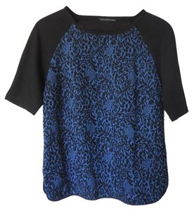W118 by Walter Baker Baseball Shirt Raglan Sleeves T-shirt Casual Dressy Damask Brocade Textured Print Graphic Cobalt Navy Elbow Sleeves Sweatshirt