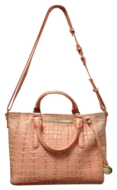 Item - Embossed Cross Body Satchel Peach Coral White Leather Shoulder Bag
