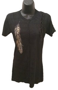 Affliction T Shirt BLACK WITH GOLD