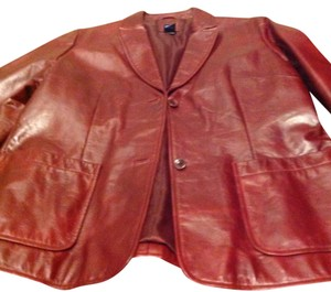Gap 100% Leather Brand Button Front Color Great Look Burgundy Leather Jacket