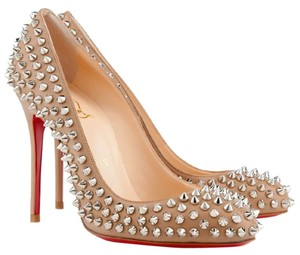 Christian Louboutin Studded Studs Pigalle Corde Nude Pumps