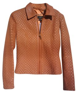 St. John Bright Coral Leather Jacket