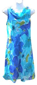 S.L. Fashions short dress Blue Floral on Tradesy