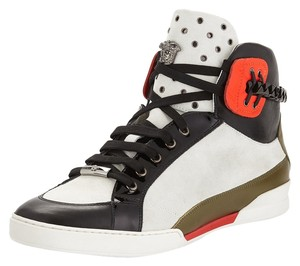 Versace- Leather High-Top Sneaker, Black/White White and black Athletic