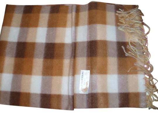 Royal Rossi Plaid scarf muffler for men or women neutral beige brown plaid cashmere wrap by Royal Rossi