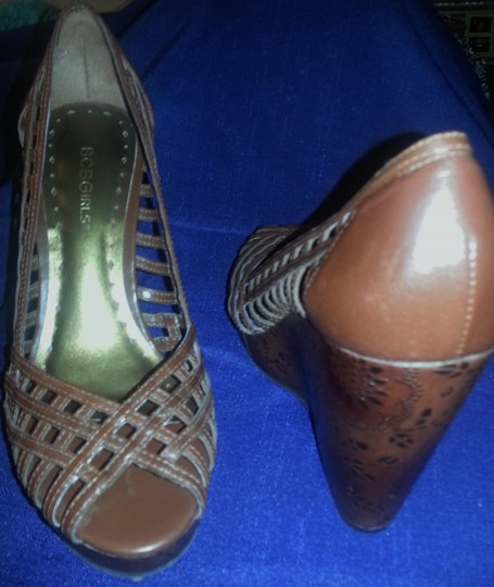 BCBGeneration Detail Leather Woven Leather Platform brown Wedges