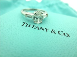 Tiffany & Co. Tiffany & Co Platinum Oval & Baguette Three Stone Diamond Engagement Ring .92CT