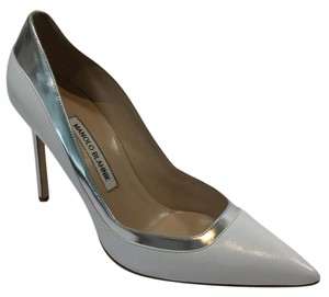 Manolo Blahnik White/ Silver Pumps