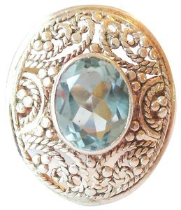 Vintage Styled Aquamarine 925 Sterling Silver Filigree Ring 6