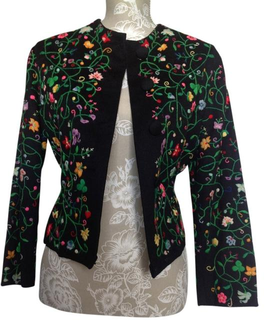 Item - Black with Multi Embroidery Embroi Wool Jacket Blazer Size 6 (S)