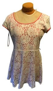 LC Lauren Conrad short dress coral with cream lace on Tradesy