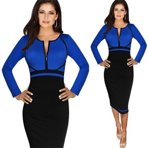 VfEmage Elegant Colorblock Front Zipper Wear To Work Business Casual Office Party Sheath Pencil Bodcon Blue Green Dress