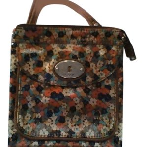 Fossil Satchel in Fall colors-Brown, Orange,navy blue(multicolor)